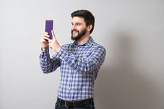 Man with textbook Royalty Free Stock Photography