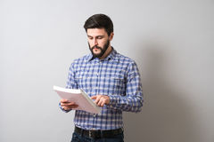Man with textbook. Handsome bearded man read textbook. Education or business concept Royalty Free Stock Photography