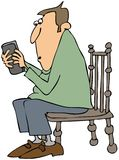 Man texting on a cellphone. This illustration depicts a man sitting on a chair and texting on his smartphone Royalty Free Stock Photography