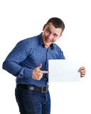 Man and textspace. Man holding an empty table, isolated on background Royalty Free Stock Photos
