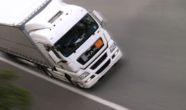 MAN TGA White Truck on Highway Royalty Free Stock Images