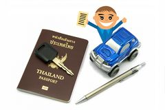 Man with Thailand Passport and 4wd Car for Travel. Concept stock photos