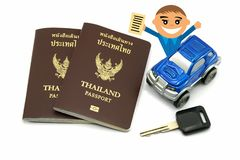 Man with Thailand Passport and 4wd Car for Travel Concept.  royalty free stock images