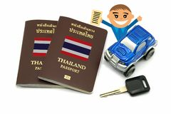 Man with Thailand Passport and 4wd Car for Travel Concept. A Man with Thailand Passport and 4wd Car for Travel Concept stock photo