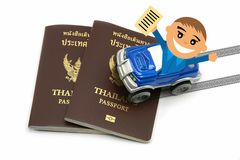 Man with Thailand Passport and 4wd Car for Travel Concept.  stock photos