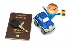 Man with Thailand Passport and 4wd Car for Travel Concept.  royalty free stock photo