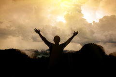 A man thank God. At the mountain royalty free stock photo