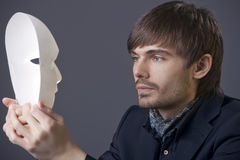 Man with theater mask Royalty Free Stock Photography