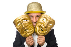 Man with theater mask isolated on white Stock Image