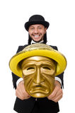 The man with theater mask isolated on white Royalty Free Stock Photos