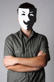Man in theater smiling mask. Man in theater black and white smiling mask standing with crossed hands Royalty Free Stock Images