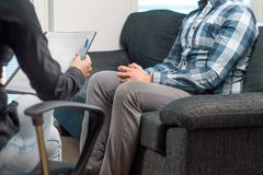 Man in a therapy session. royalty free stock photography
