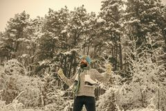 Man in thermal jacket, beard warm in winter. stock photography