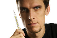 Man with thermometer Royalty Free Stock Photo