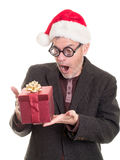 Man in thick glasses surprise Christmas gift Stock Photo
