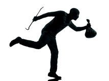 Man thief criminal running silhouette Royalty Free Stock Photography