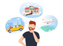 Free Man Think About House, Car And Vacation On The Sea. Male Character Dream About Wealth. Flat Vector Illustration Royalty Free Stock Photos - 183751428