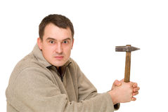 Man think with hammer Stock Photo