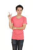 Man think of idea with t-shirt. Man think of idea with pink t-shirt isolated on white background Stock Photography
