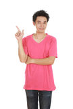 Man think of idea with t-shirt. Man think of idea with pink t-shirt isolated on white background Royalty Free Stock Photo