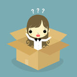 Man think inside the box woman version. Businesswoman sitting inside the box with question mark on his head Stock Images