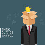 Man Think Outside The Box Metaphor, Ideas Concept Of Man With Opened Box And Light Bulb In His Head. Man with opened box and light bulb in his hand Royalty Free Stock Photography