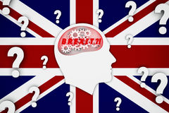 Man thinking about brexit consequences, britain, england flag background Royalty Free Stock Photography