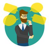 Man is thinking with bubbles. stock illustration