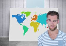 Man thinking about Colorful Map with city background with room and sky background Royalty Free Stock Photography