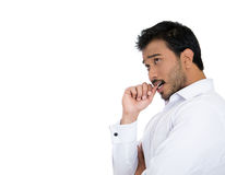 A man thinking deeply biting his thumb in stress and anxiety Stock Image