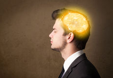 man thinking with glowing brain illustration Stock Photography