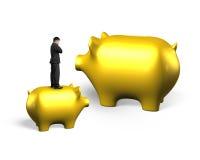 Man thinking on golden piggy bank. Man thinking and standing on golden piggy bank, isolated on white background Stock Photography