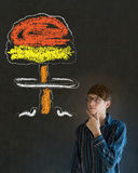 Man thinking hand on chin chalk nuclear bomb cloud blackboard background Royalty Free Stock Photos