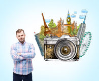 Man thinking about holidays Royalty Free Stock Photos