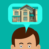 The man is thinking about house. House in a speech cloud. Royalty Free Stock Images
