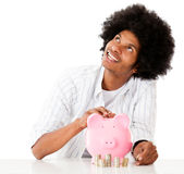 Man thinking how to spend his savings Royalty Free Stock Photo