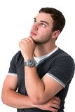 Man Thinking and looking up Royalty Free Stock Photos