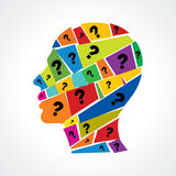 Man thinking many question Royalty Free Stock Image