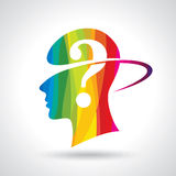 Man thinking many question. brain idea Stock Image