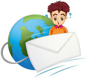 A man thinking in the middle of the envelope and the globe Stock Photography