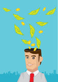 Man Thinking about Money Vector Illustration Royalty Free Stock Photography