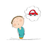 Man thinking of a new car. Original hand drawn illustration of man thinking of a new car Stock Image