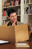 Man thinking outside box Stock Photos