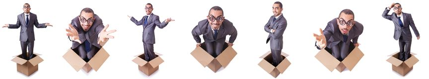 The man in thinking outside the box concept Stock Photography