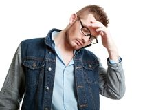 Man thinking about problems Stock Photo