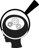 Man and thinking, and robot mechanisms and gears Royalty Free Stock Image