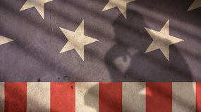 Man Thinking Shadow on Usa Flag. Royalty Free Stock Photography