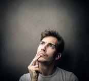 Man thinking of something. A man thinking of something Royalty Free Stock Image