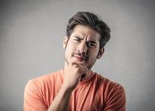 Man thinking of something Stock Images