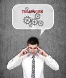 Man thinking about teamwork Stock Photo